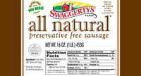 Swaggerty's Farm All Natural 1lb Pork Sausage Rolls - Nutrition Facts