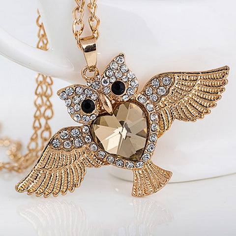 Owl Crystal Rhinestone Charms Pendant Necklace - Free + Shipping