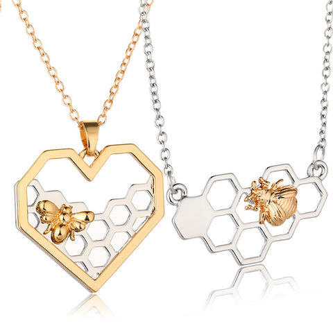 FREE Heart Honeycomb Bee Pendant Necklace