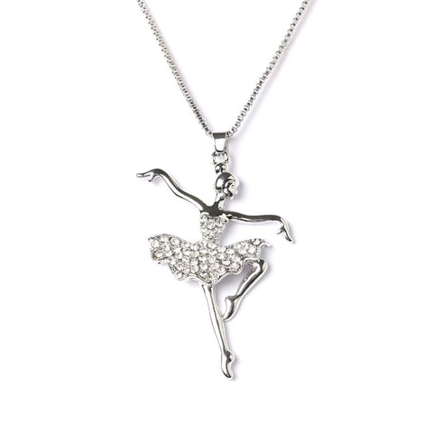 Fashion Silver Plated Dancing Ballerina Dancer Pendant Necklace