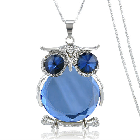 Crystal Blue Glass Owl Pendant Necklace