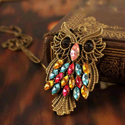 Colorful Vintage Owl Rhinestone Necklace Pendant