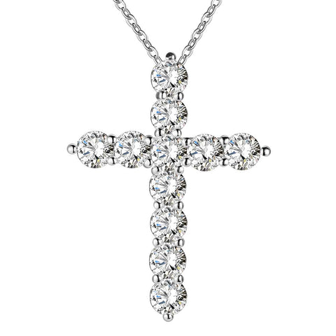 Free Women Silver Plated Cross Necklace