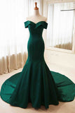 Dark Green Off-the-Shoulder Train Prom Evening Dress