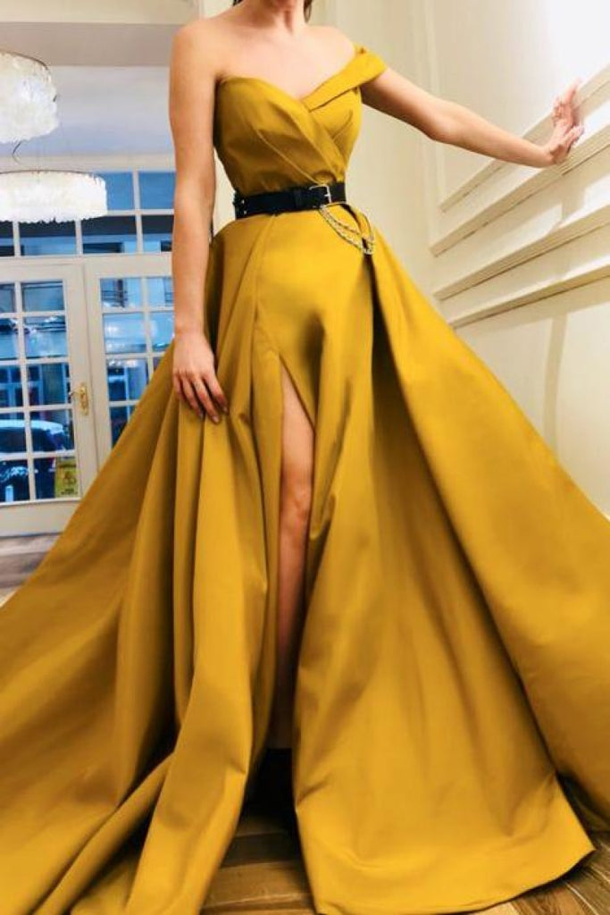 Off-The-Shoulder Thigh-High Slit Prom Ball Gown Dresses