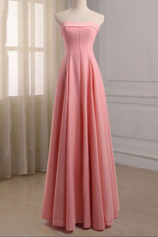 Pink Elegant Strapless A-line Prom Evening Dress