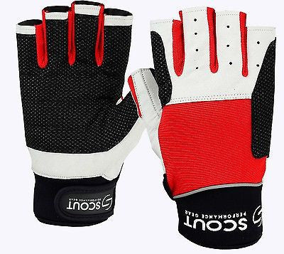 Sailing Gloves Cut Finger Dinghy Yachting Kayak Fishing Glove Red SPG - Scout Performance Gear