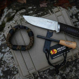 survival gear loadout with paracord