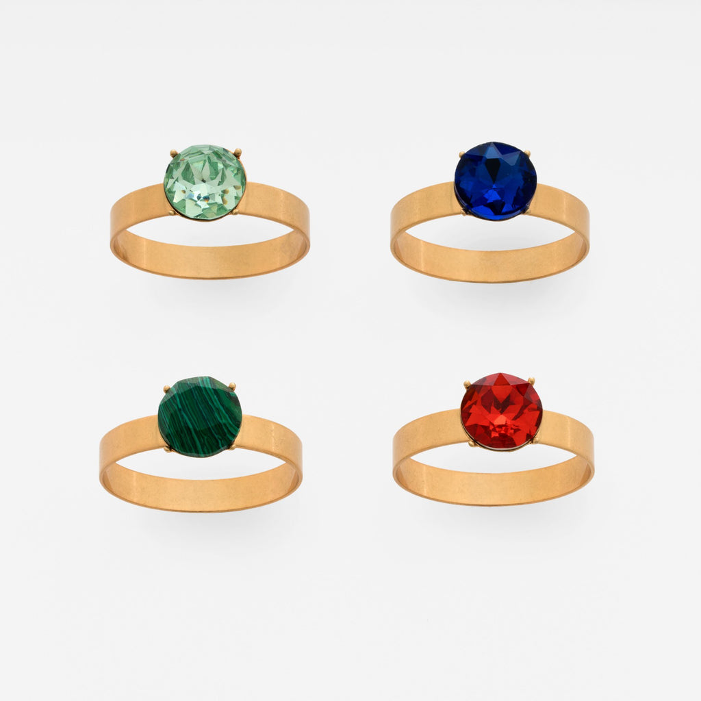Gem skinny napkin rings, set of four
