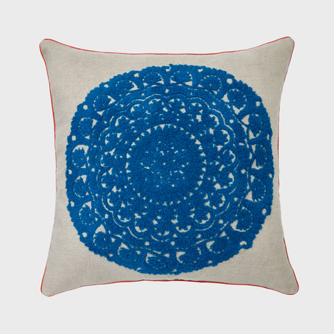 Quilted tassel pillow, indigo/cream