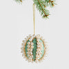 Pearl and velvet ball ornament, mint green