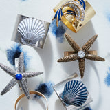 Painted shell napkin rings, blue, set of two