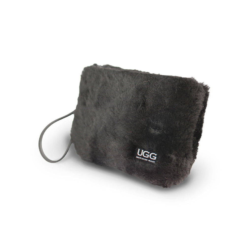 Small Black fluffy Sheepskin Clutch online sale by UGG Australian Made Since 1974 Front angle view