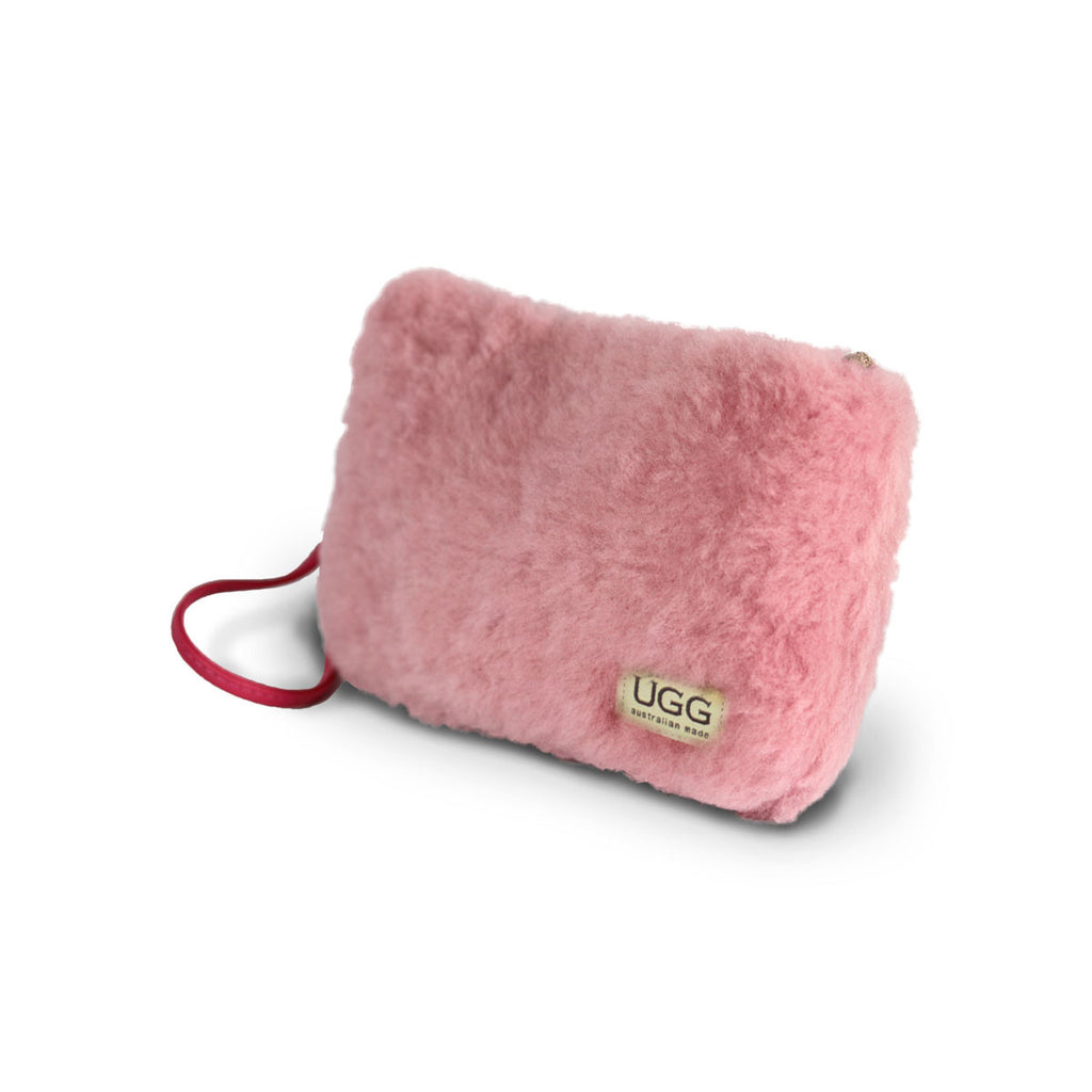 Small Orchid pink fluffy Sheepskin Clutch online sale by UGG Australian Made Since 1974 Front angle view