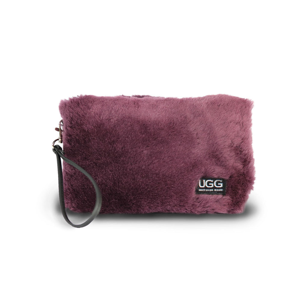 Small Raisin purple fluffy Sheepskin Clutch online sale by UGG Australian Made Since 1974 Front view