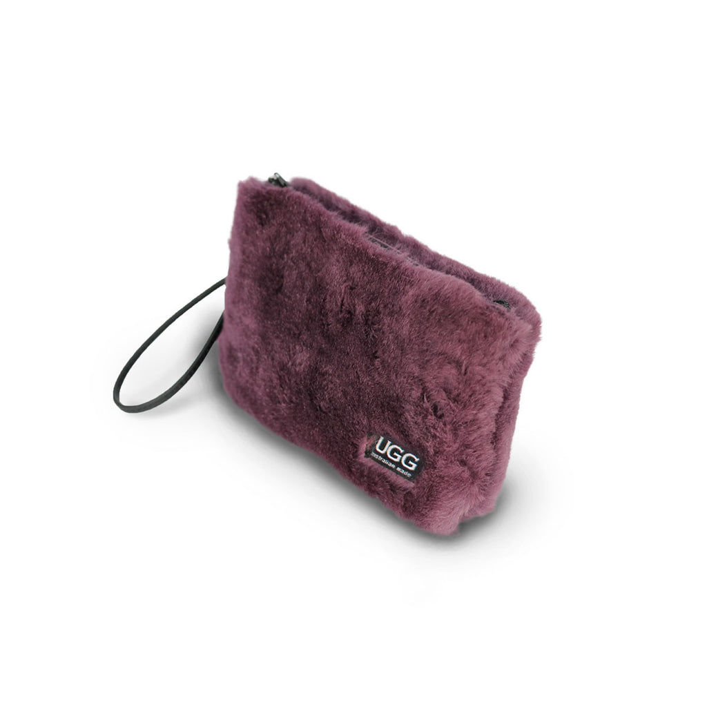 Small Raisin purple fluffy Sheepskin Clutch online sale by UGG Australian Made Since 1974 Front angle view