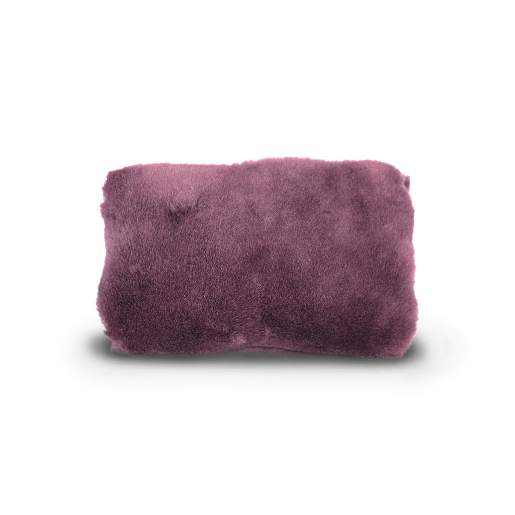 Small Raisin purple fluffy Sheepskin Clutch online sale by UGG Australian Made Since 1974 Back view