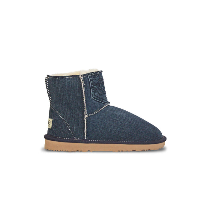 Classic dark blue Denim Mini sheepskin ugg boot online sale by UGG Australian Made Since 1974 Side view v2
