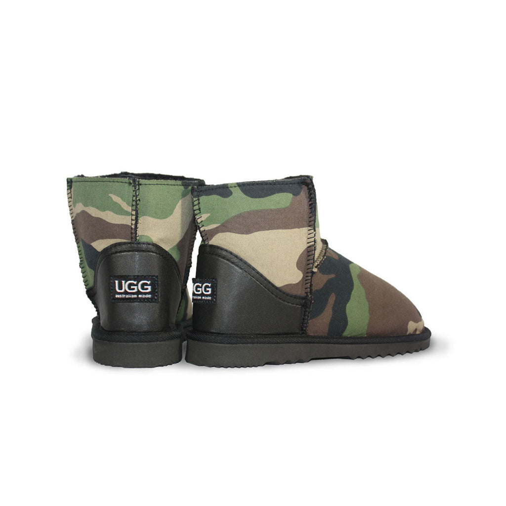 Camo Classic Mini sheepskin ugg boot with black leather heel online sale by UGG Australian Made Since 1974 Back angle view pair