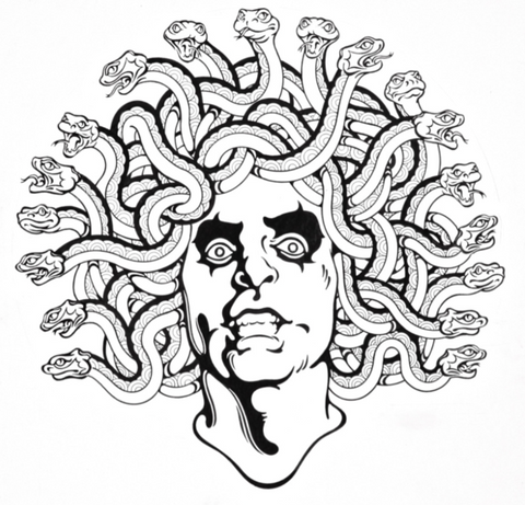 Alice Cooper - Medusa Head - Black & White Print