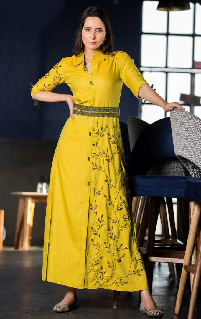 Bright yellow Embroidered Maxi Dress