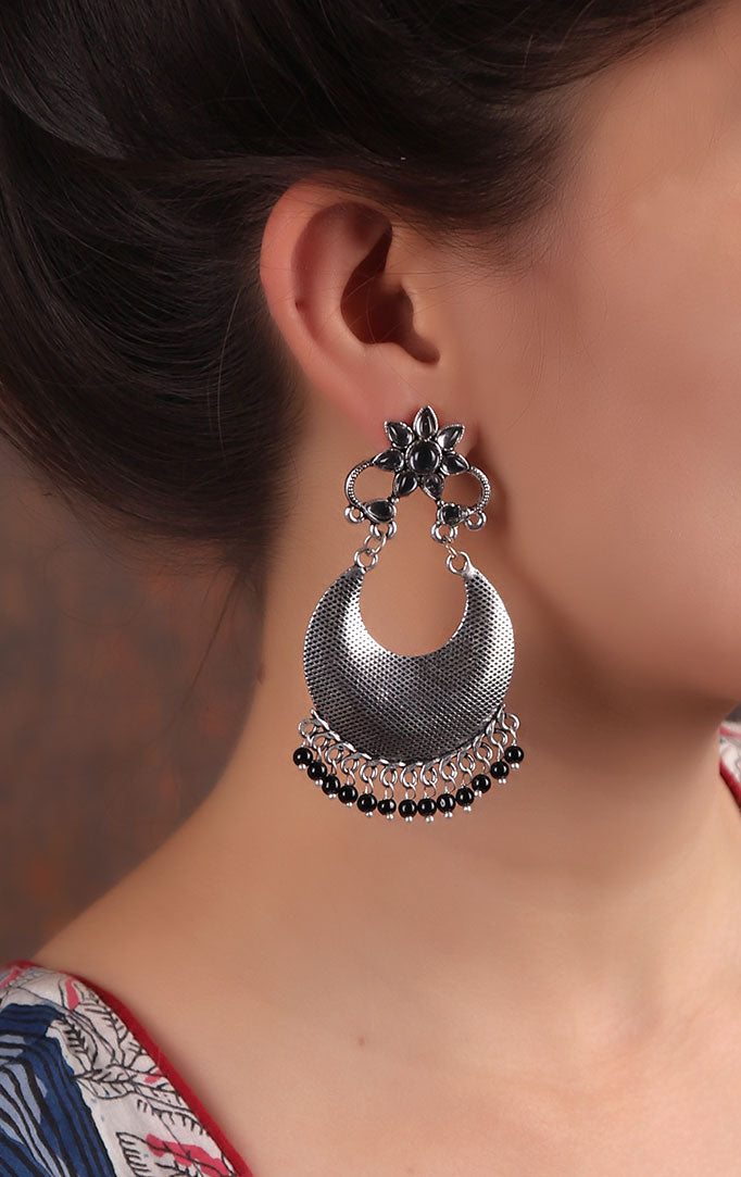 Silver Chandbali Earrings with Black Beads