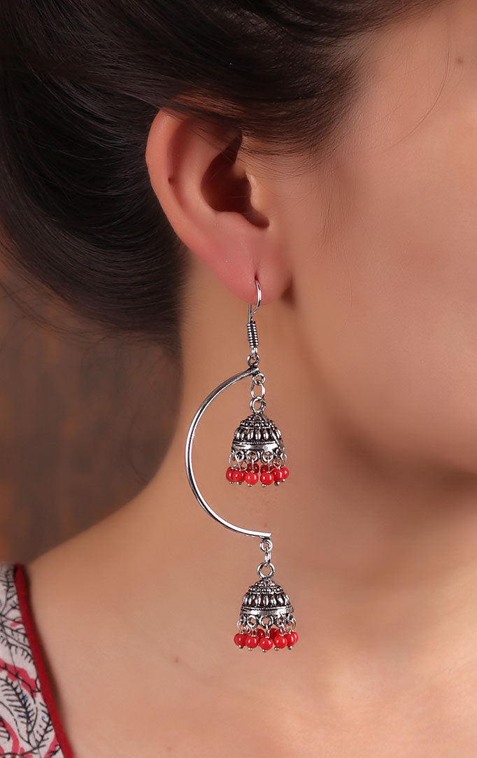 Layered Jhumka in Red & Silver
