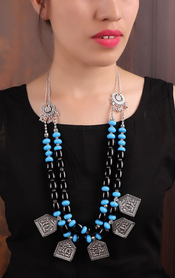 Turquoise-Black Beaded Silver Necklace