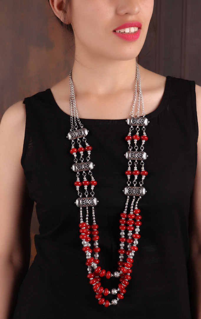 Red Beaded Silver Oxidized Necklace
