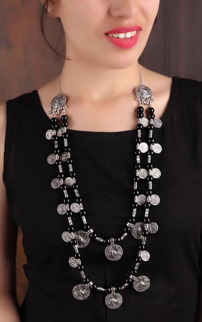 Double-layered Coin Necklace with Black Beads