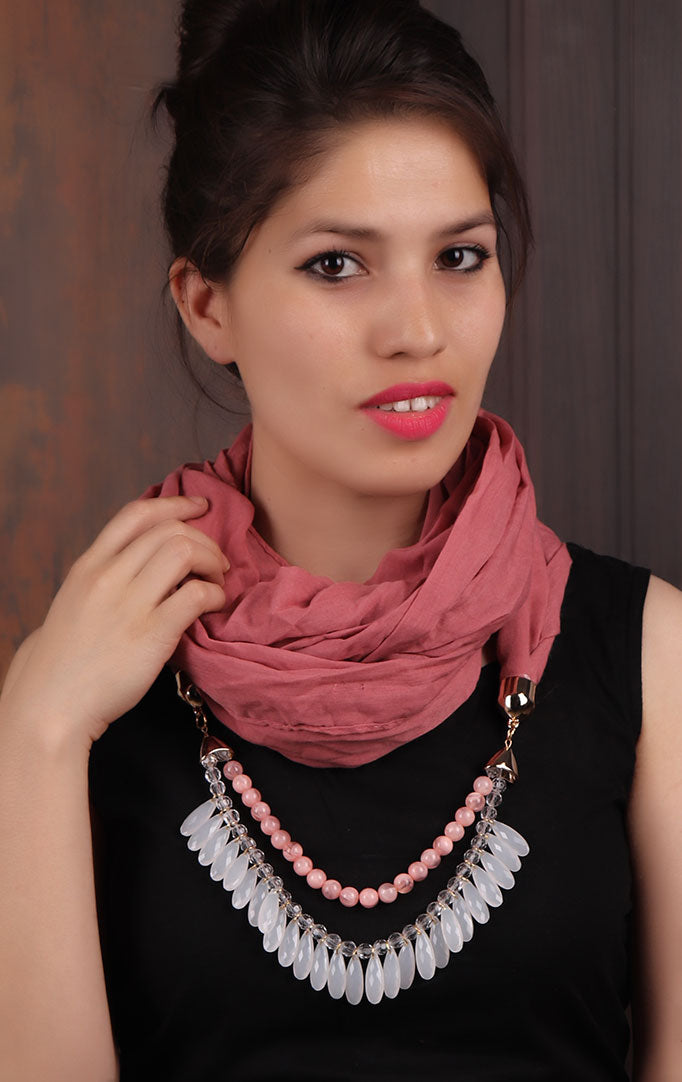 Mauve Pink Infinity Scarf Necklace