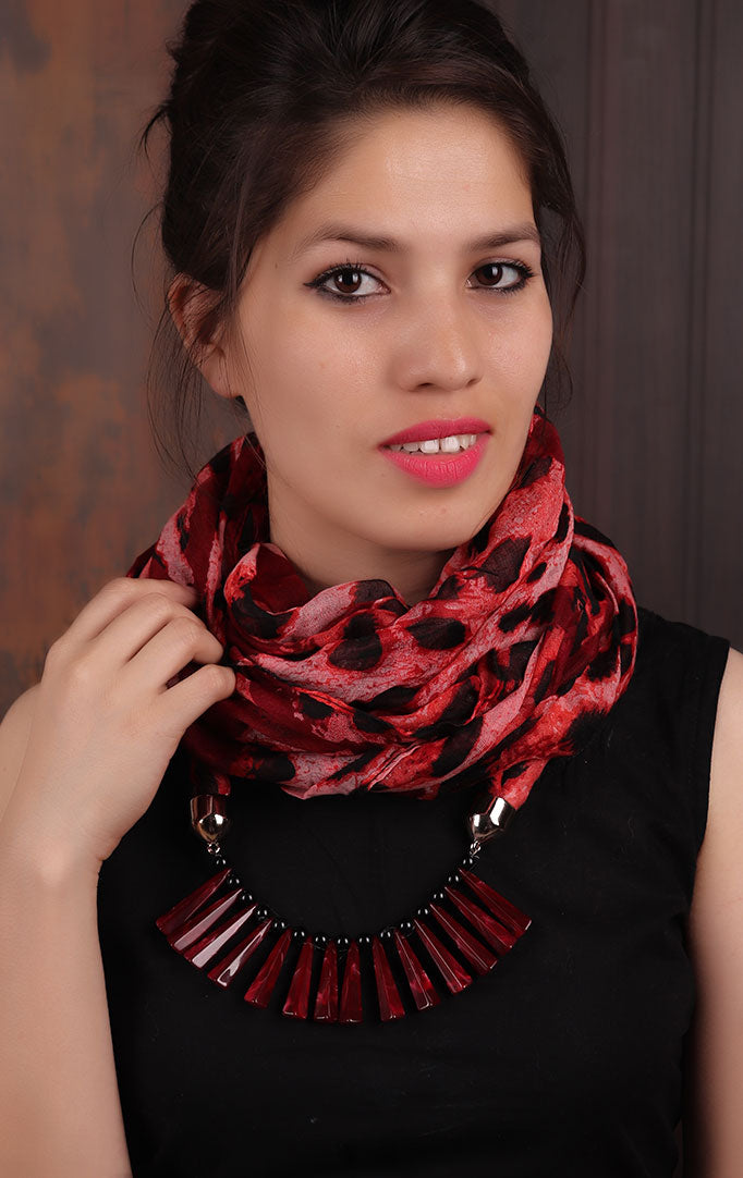 Maroon-Coral Leopard-print Infinity Scarf Necklace