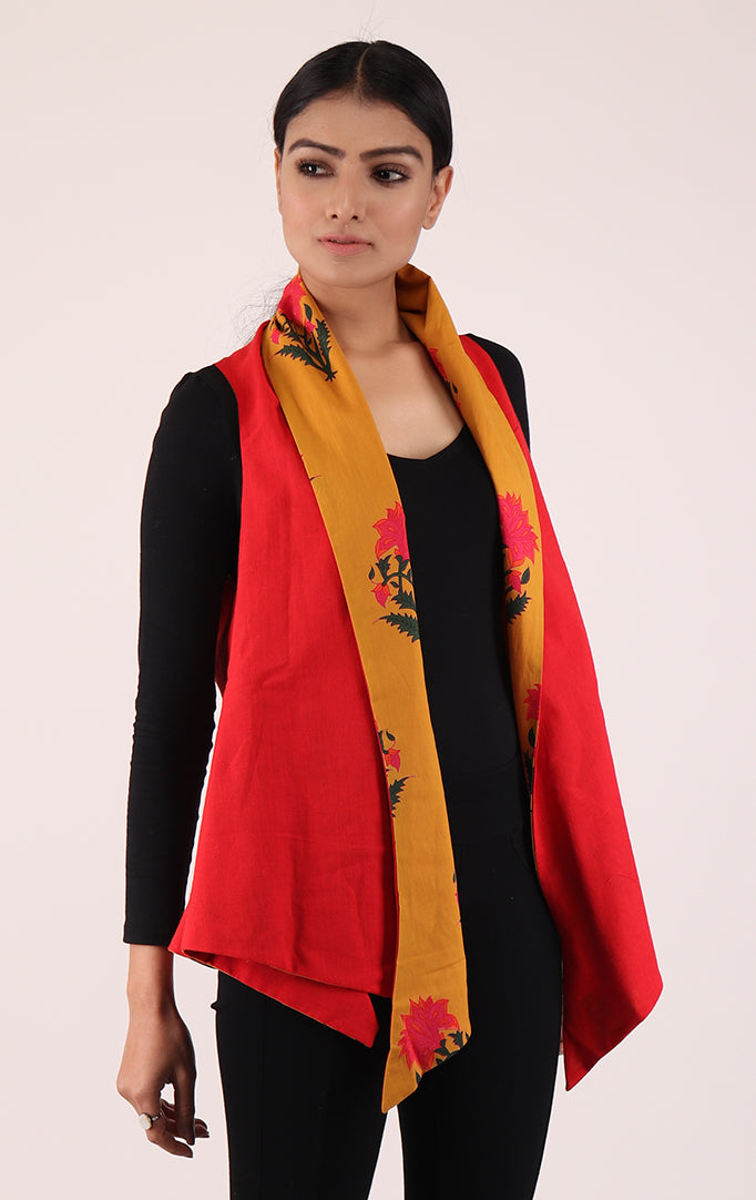 Asymmetrical Reversible Shrug in Yellow & Red