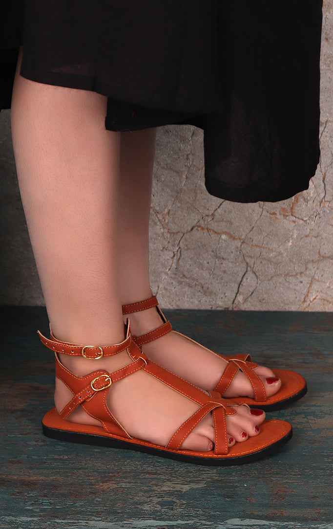 Cross Your Heart Tan Flats