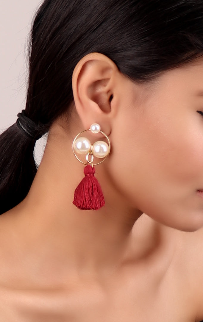 Pearl Earrings with Red Tassels