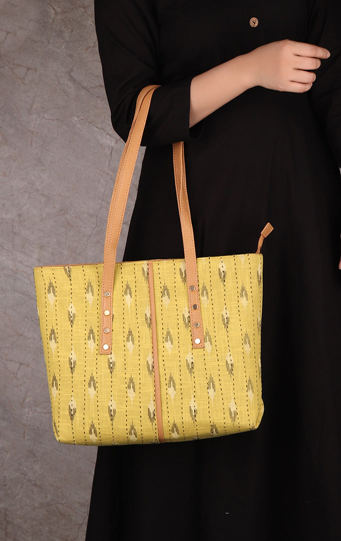 Ikkat Print On Yellow Fabric Tote Bag