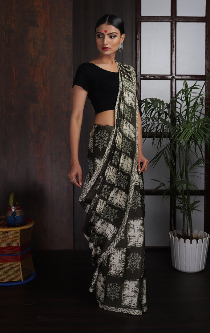 Square-printed Saree in White & Olive Green