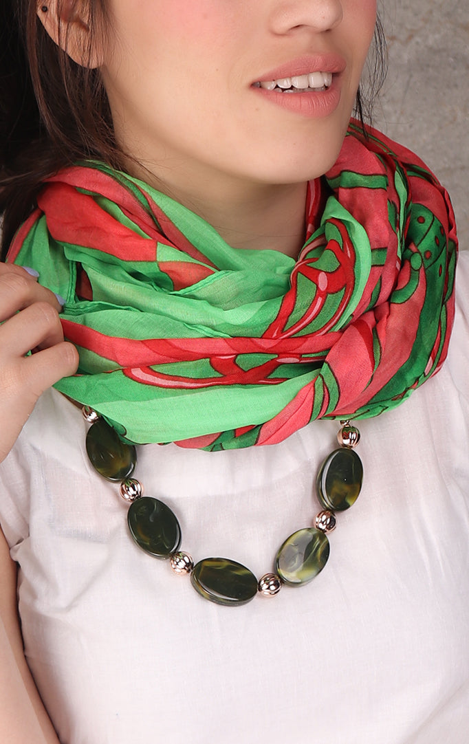 Green-Red Necklace Stole With Oval Beaded