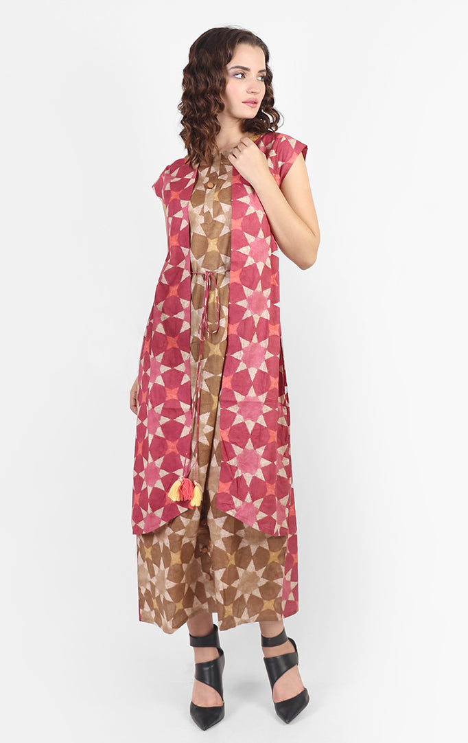 Bold Flower Print Dress With Attached Shrug