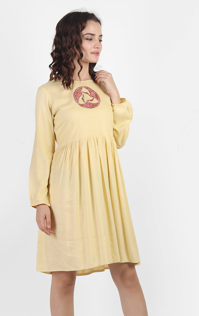 Pastel Yellow Embroidered Dress