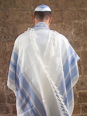 Gabrieli Silk Tallit- Classic Design with Light Blue and Silver