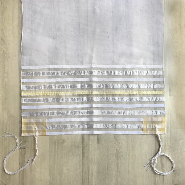 NEW - Lady Gabrieli Tallit - Voile with White Stripes and Gold