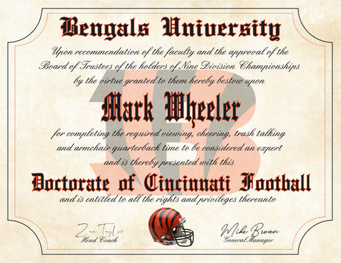 "Cincinnati Bengals Ultimate Fan Personalized Diploma - Perfect Gift - 8.5"" x 11"" Parchment Paper"