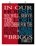 A House Divided - Atlanta Falcons & Carolina Panthers personalized family poster Christian gift sports art -multiple sizes