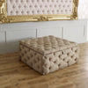 Small Square Chesterfield Buttoned Fabric Upholstered Fixed Bench / Stool / Seat-Footstool-Chic Concept