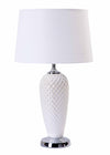 Modern Penn White Ceramic Chrome Base with White Fabric Shade Table Lamp-Table Lamp-Chic Concept