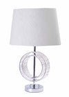 Venetian Clear Crystal Plastic Base with Grey Fabric Shade-Table Lamp-Chic Concept