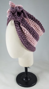 Deep Lavender with Baby Pink Stripes Shaped Turban
