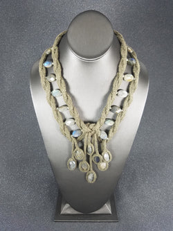 Olive Lucet Cord Twist Necklace with Labradorite Stones