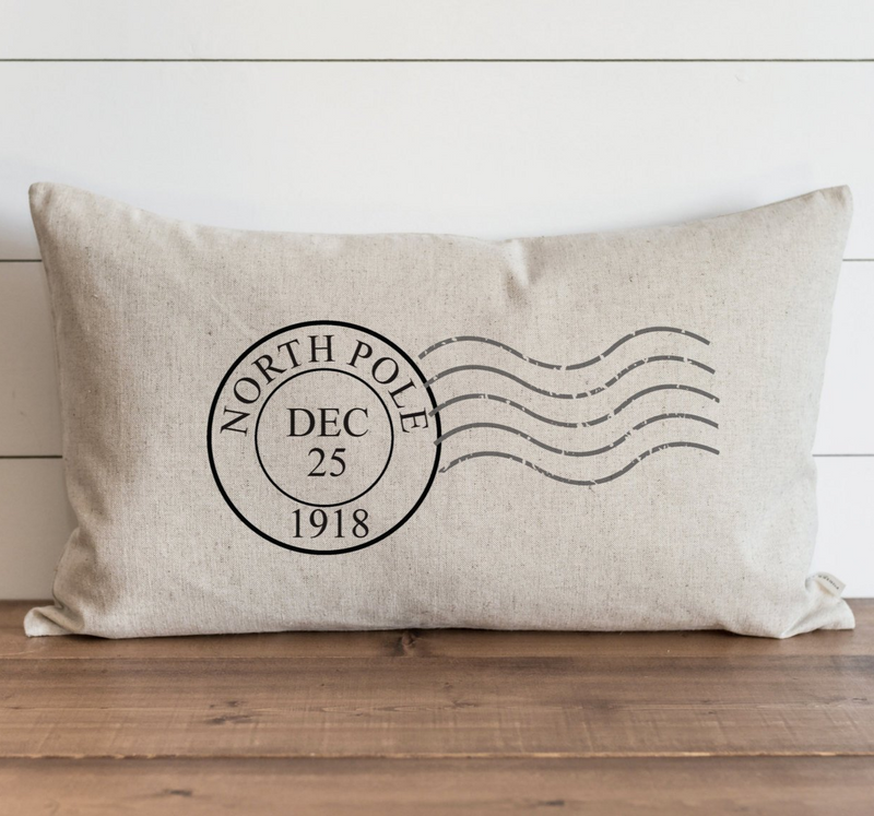 North Pole Stamp Pillow Cover. - Porter Lane Home